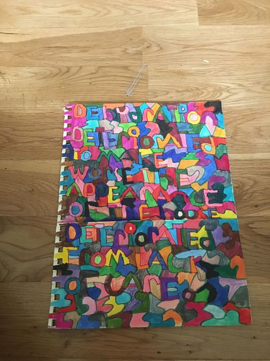 Words with shapes on a folder - Shapes of color