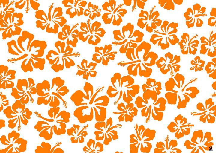 Orange hibiscus pattern - Zebrito Art
