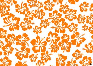 Orange hibiscus pattern