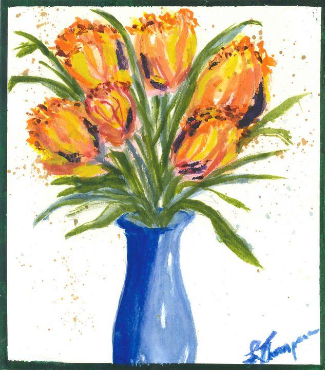 Tulips in a Blue Vase - Fine Art by Loraine Allison Thompson