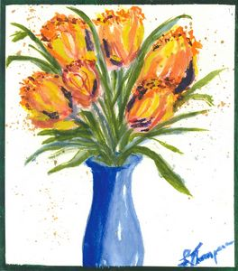 Tulips in a Blue Vase - Fine Art by Loraine Allison Thompson