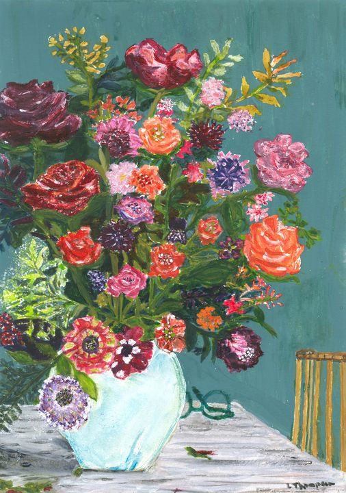 Roses and Peonies - Fine Art by Loraine Allison Thompson