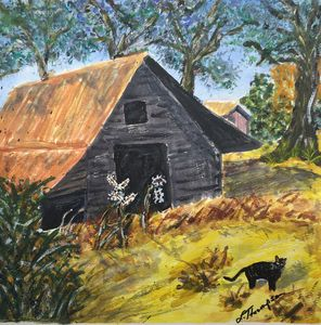 Barn Cat on the Prowl - Fine Art by Loraine Allison Thompson