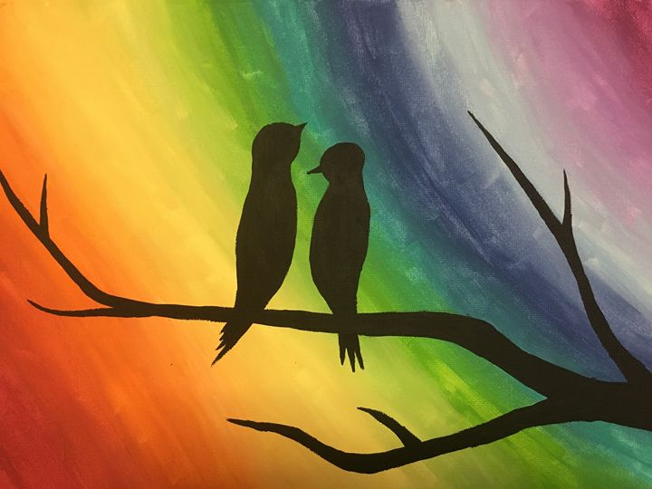 Rainbow Love Birds - Sarah Bolyard