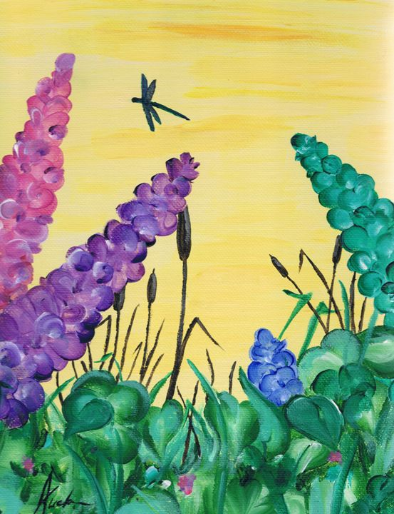 Lupins and cattails - ATuckerDesigns