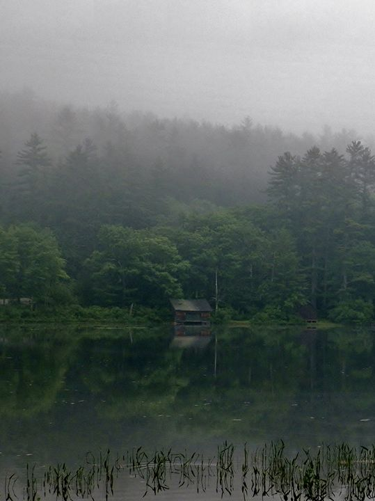 Fishing shack on misty morning - 56th Street Photo