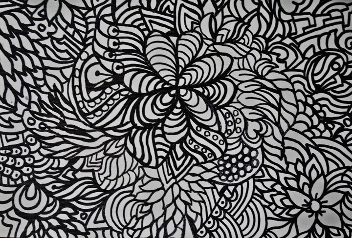 Adult Coloring Floral - Mistyck Moon's Turmoil Of The Mind