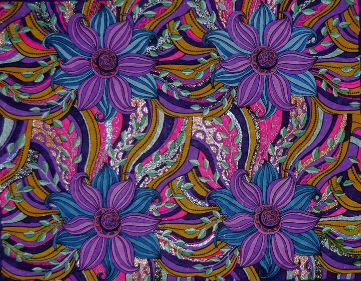 Purple Glittery Flowers - Mistyck Moon's Turmoil Of The Mind