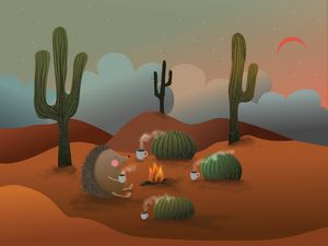 Mexican hedgehog with cactus friends
