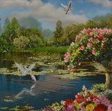 lake and storks