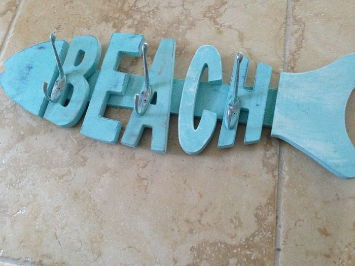 turquoise 3 hook beach rack - beach decor treasures