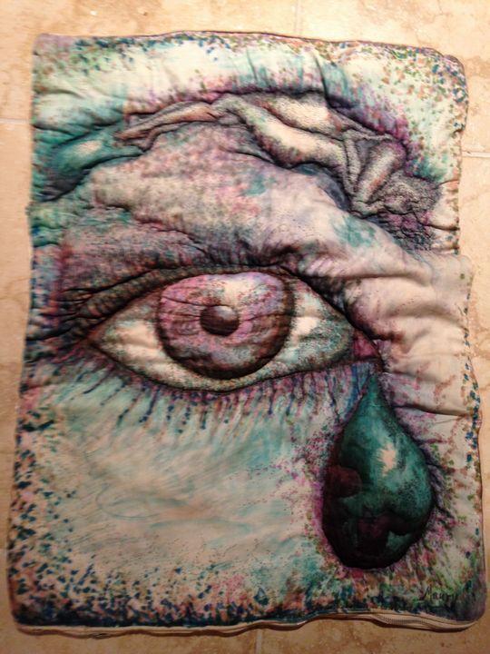 artist self portrait textile art - beach decor treasures