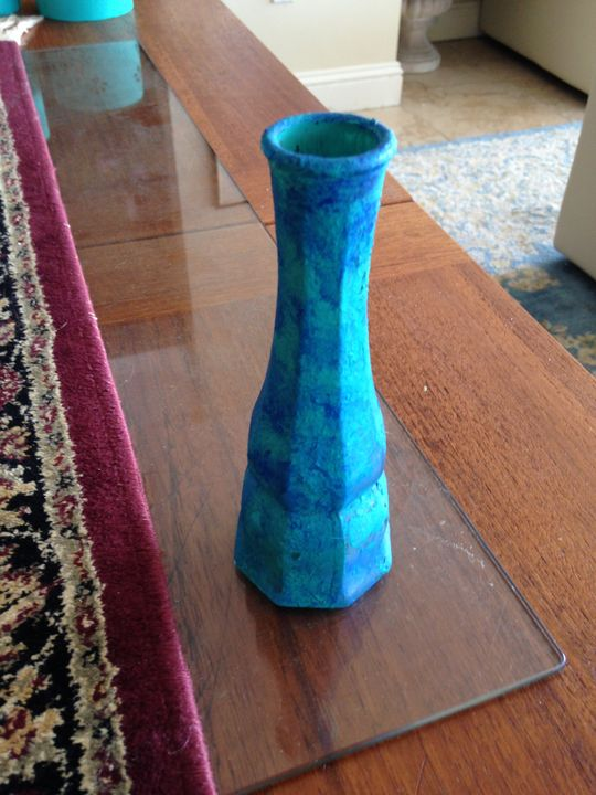 Decorative Turquoise Glass Bud Vase - beach decor treasures
