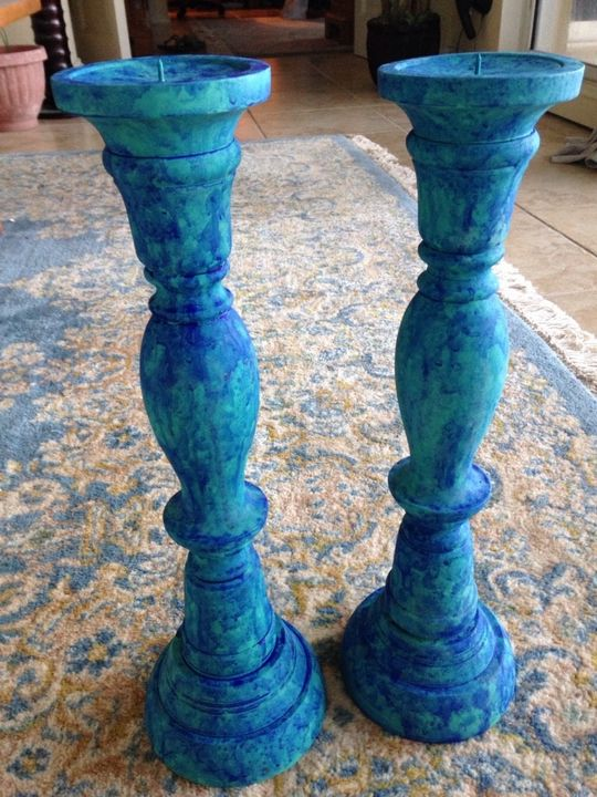 turquoise design set of 2 wooden can - beach decor treasures