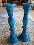 turquoise design set of 2 wooden can