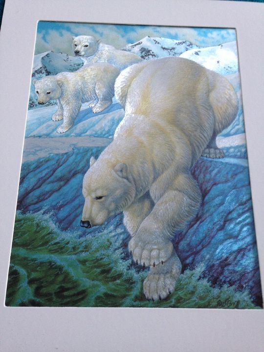 iridescent polar bear print - beach decor treasures