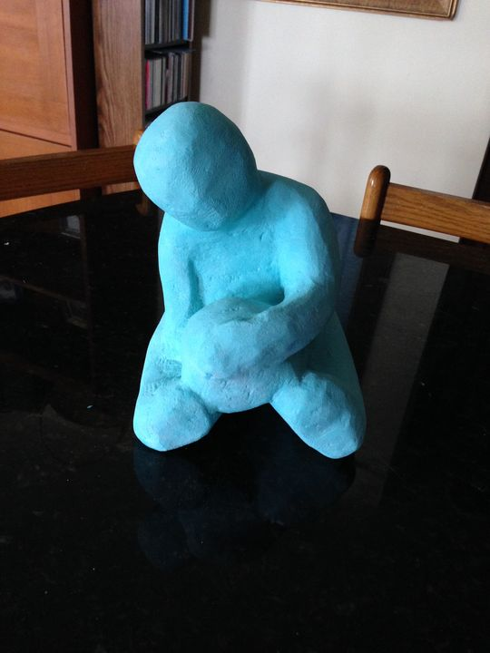 turquoise boy with ball stone sculpt - beach decor treasures