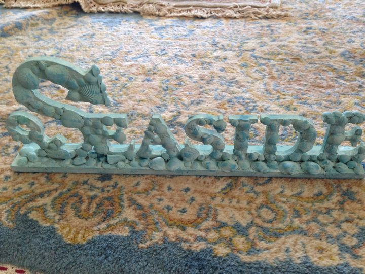 turquoise wooden seaside beach art - beach decor treasures