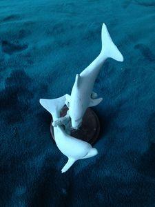 """Dancing Dolphins Statue 6.5"""" Aqua"""