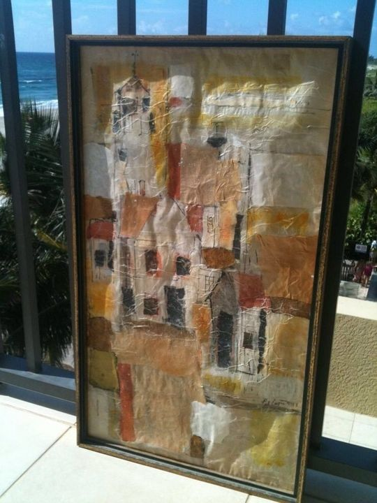 Beautiful CityScape Collage Painting - beach decor treasures