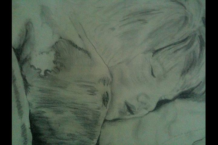sleeping child drawing signed - beach decor treasures