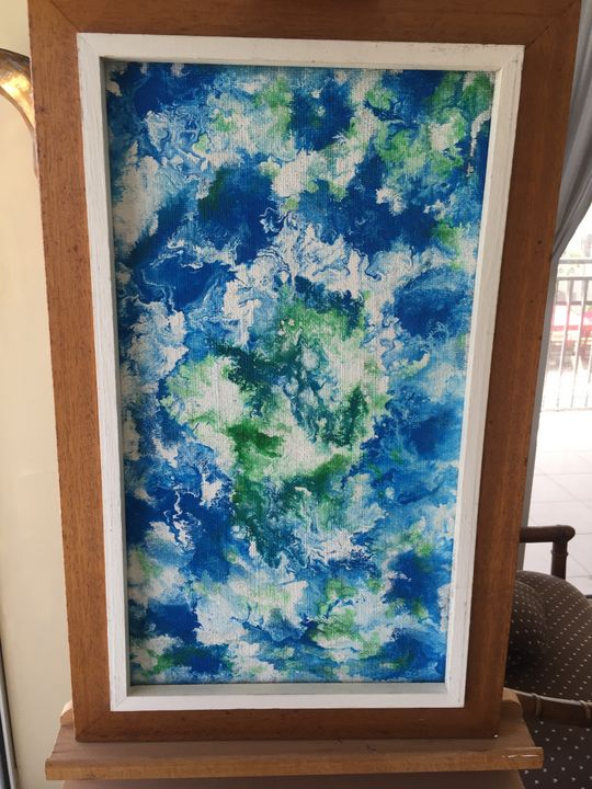 """Blue Waves painting signed 30"""" x 20"""" - beach decor treasures"""