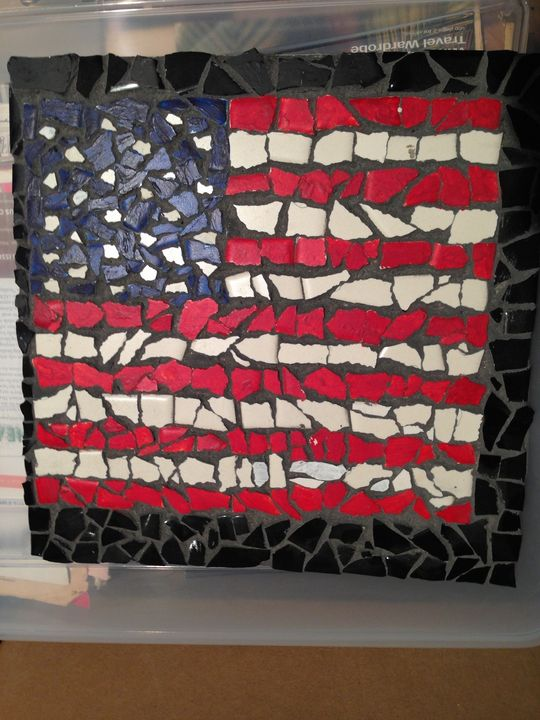 "ceramic flag mosaic 12"" x 12"" - beach decor treasures"