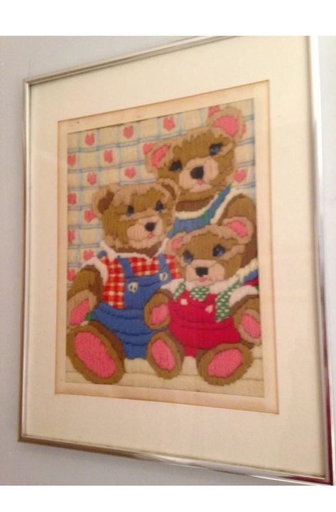 Teddy Bear Family Textile Art Framed - beach decor treasures