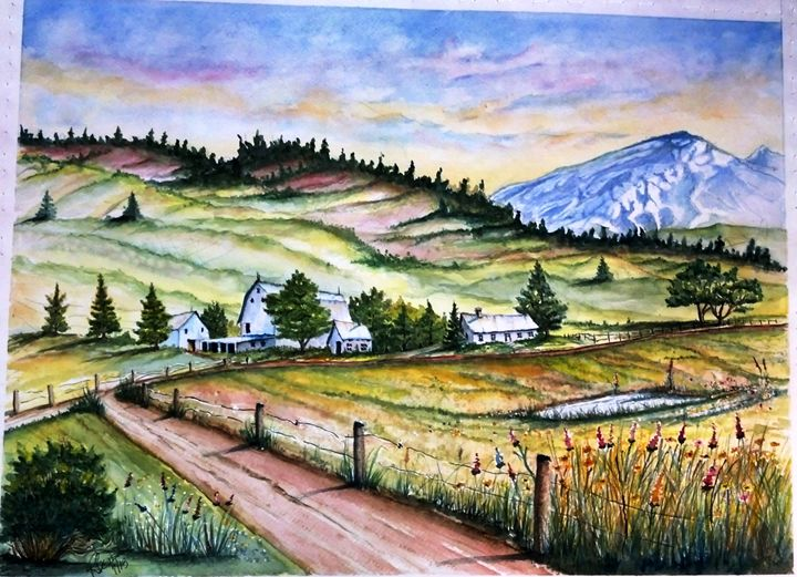 Mountain Farm - Richard Benson's Watercolors