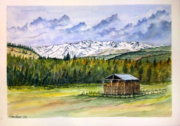 Colorado Hay Barn SOLD - Richard Benson's Watercolors