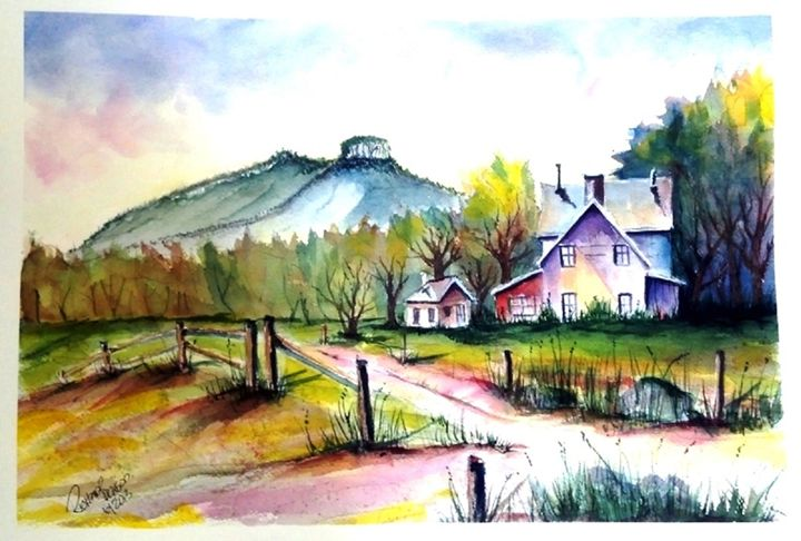 Pilot Mountain North Carolina SOLD - Richard Benson's Watercolors