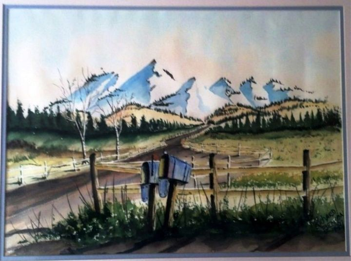 Two Mail Boxes-SOLD - Richard Benson's Watercolors