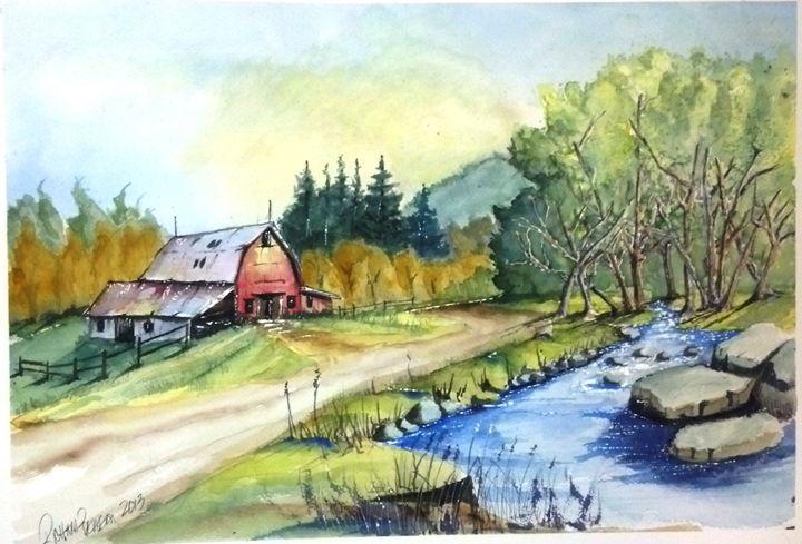 Barn and Steam - Richard Benson's Watercolors