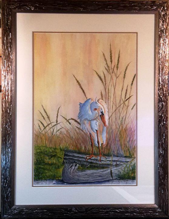 Blue Heron on a Log - Richard Benson's Watercolors
