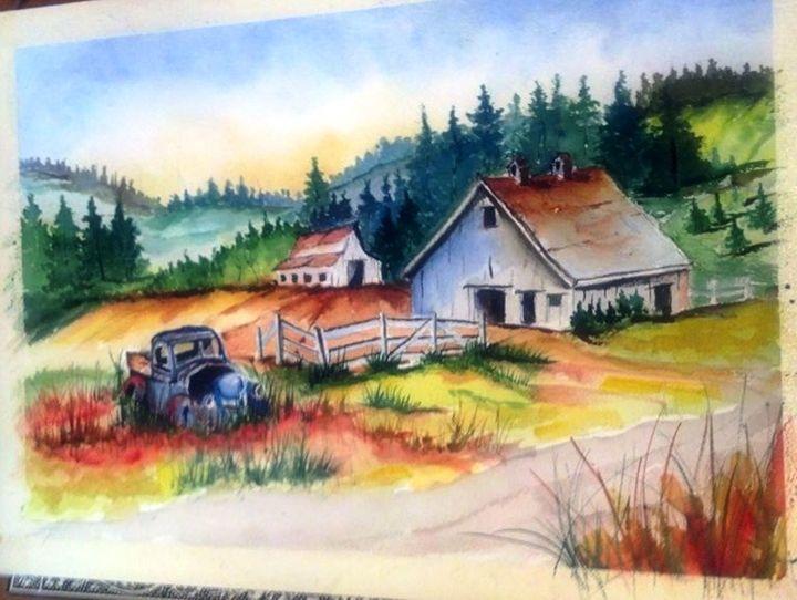 Old truck and Barn - Richard Benson's Watercolors