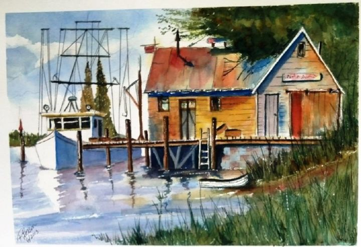 Trawler at Rest SOLD - Richard Benson's Watercolors