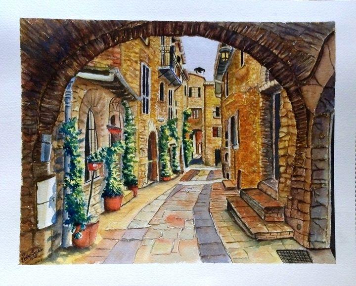 Italian street scene SOLD - Richard Benson's Watercolors