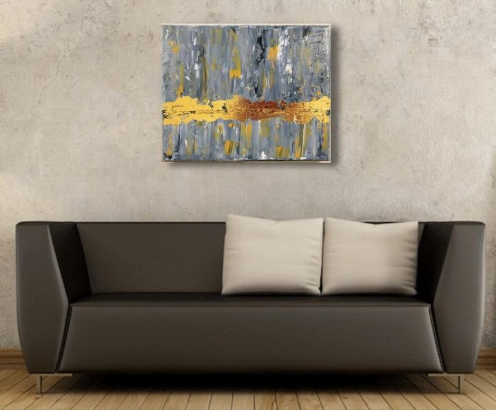 Abstract Painting with Gold Leaf - Artistive