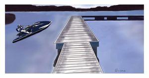Boardwalk by the River w/ Jetskier