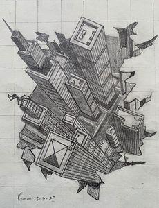 Skyscraper 3D on paper