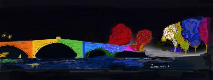 Bridge illuminating colors at night - Monvis