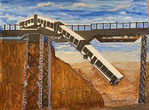 Collapsing Bridge with Train falling