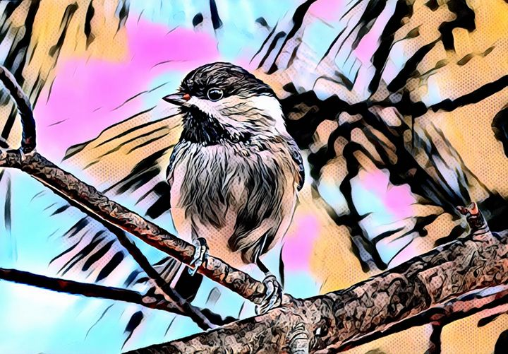 Bird Perched on Branch Pop Art - Rogue Art