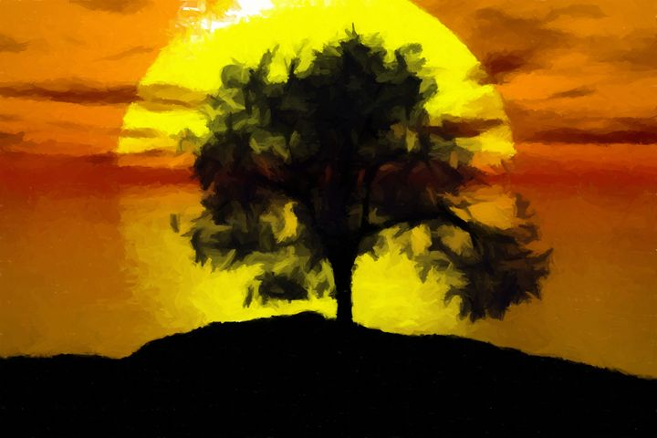 Sunset Tree Landscape - Rogue Art