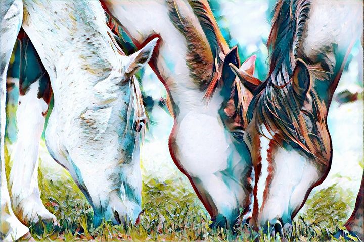 Horses Grazing - Rogue Art - Rogue Art