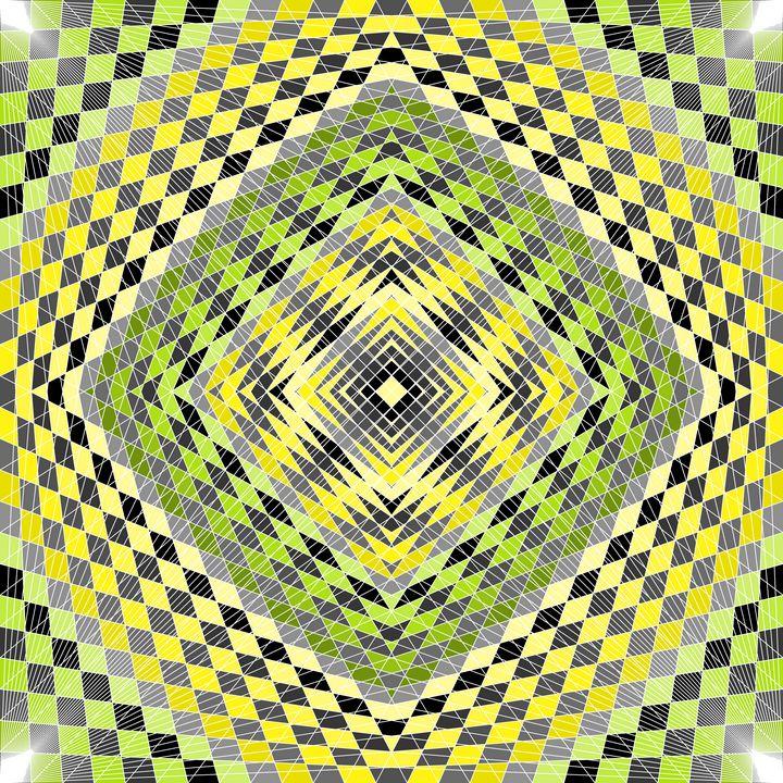 Green fields geometric art print - Art Geometrix