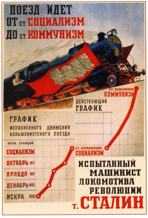 The train goes from the Socialism St - Soviet Art