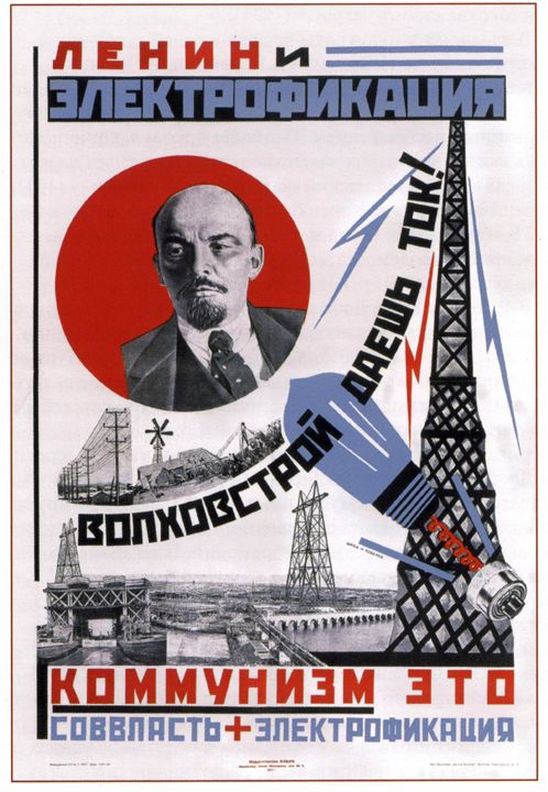 Lenin and Electrification - Soviet Art