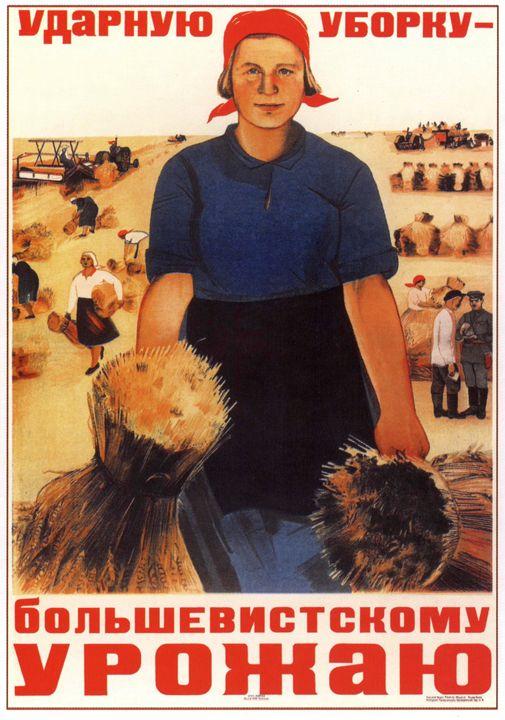Shock gathering in for harvest of Bo - Soviet Art