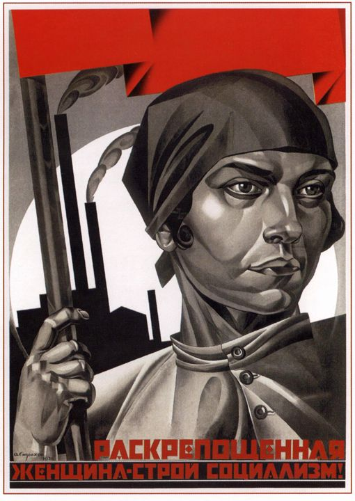 Emancipated women, help build social - Soviet Art